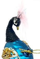 Kersthanger van glas in de vorm van een blauwe pauw