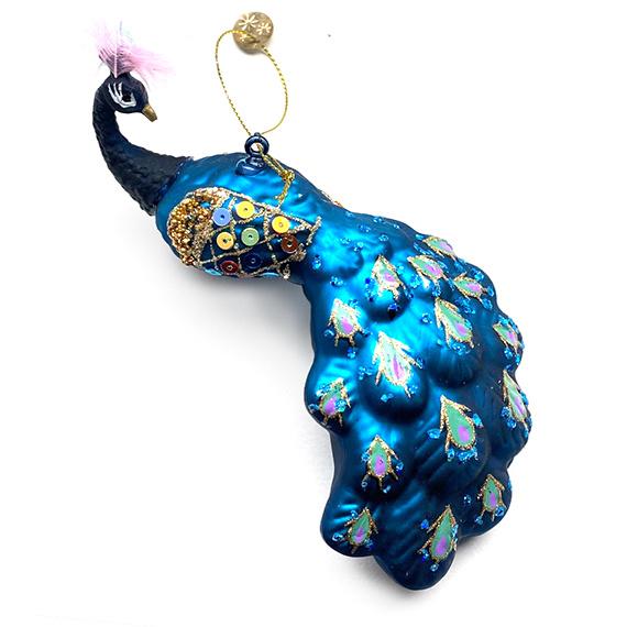 Blue glass peacock bird Christmas tree ornament