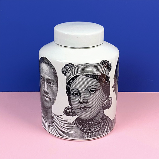 White ceramic container with portraits