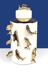 Witte voorraadpot van keramiek met gouden vissen