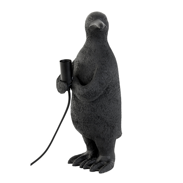 Black penguin bird table lamp