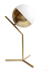 Gouden retro design tafellamp met witte bol