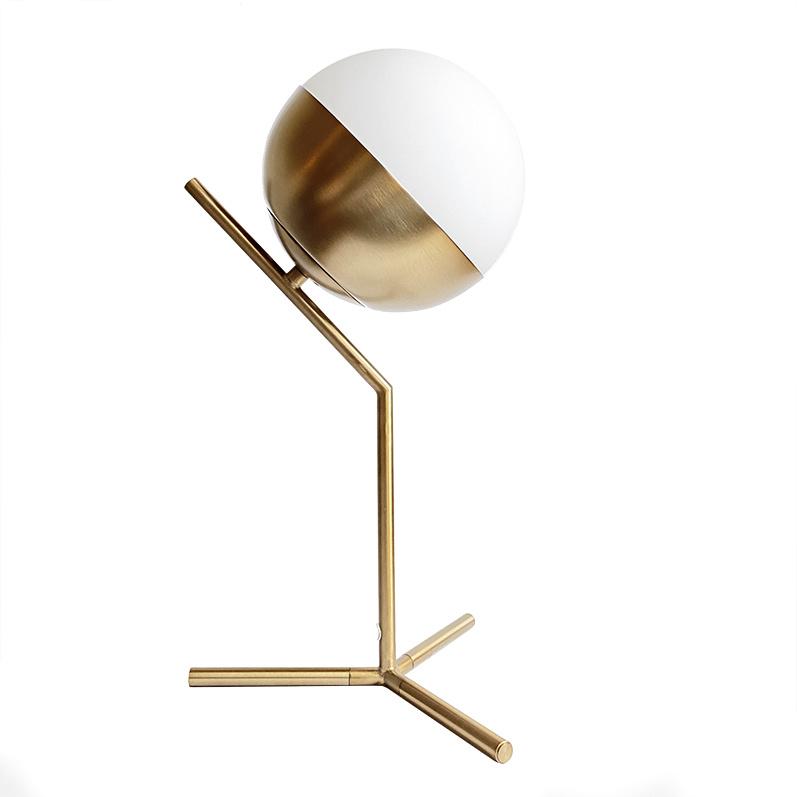 Gold retro design table light with white globe
