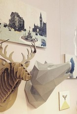 Paper wolf head trophy