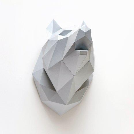 Papieren wolf dierenkop van Assembli