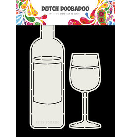 Dutch Doobadoo DDBD Card Art Wine Bottle and Glass