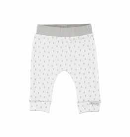 Bampidano newborn broekje wit met grijze aop x