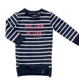 Born to be famous blauw / wit gestreept jurkje (yarn dyed)