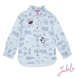 Jubel wit/blauw gestreepte blouse l/m Sisterhood