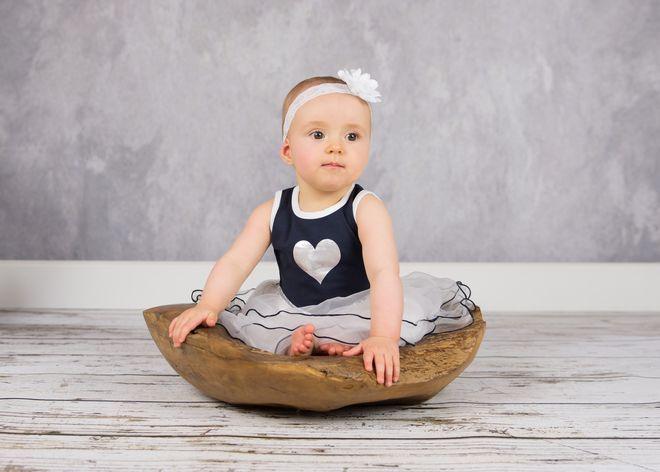 Lofff heart dress blauw / wit 2-dlg