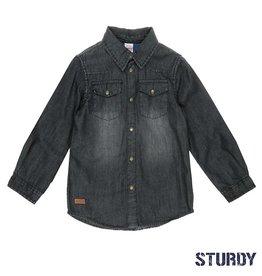 Sturdy zwart denim overhemd
