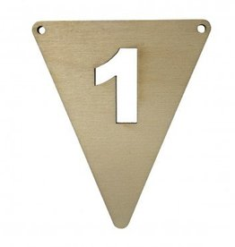 houten vlagletter cijfer 1