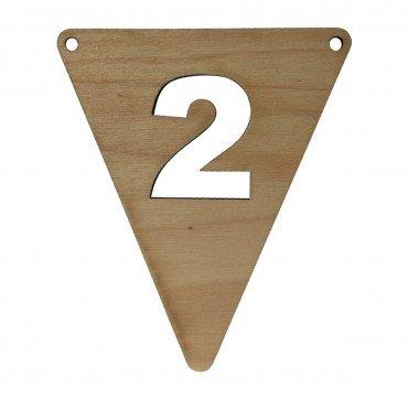 houten vlagletter cijfer 2