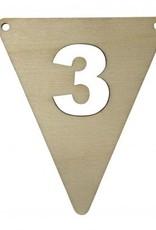 houten vlagletter cijfer 3