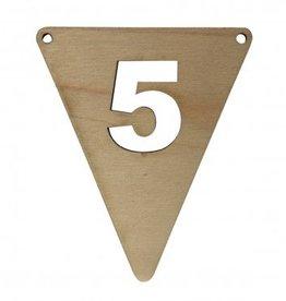 houten vlagletter cijfer 5