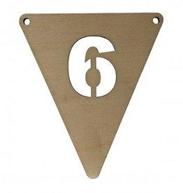 houten vlagletter cijfer 6