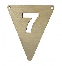 houten vlagletter cijfer 7
