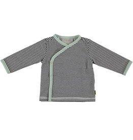 Bess gestreept overslagshirt antraciet mint
