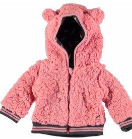 Bampidano baby roze teddy jas met capuchon