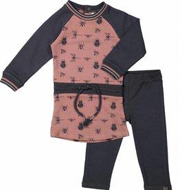 Koko Noko 2-dlg set jurkje met legging darkgray/mauve