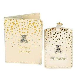 Bambino by J goud en glitter paspoort en bagagelabel Teddy set