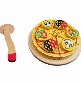 houten pizza met snijder in doosje