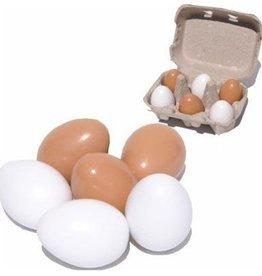 6 houten eieren in doosje