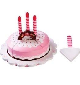 Houten verjaardagstaart roze taart 10-dlg