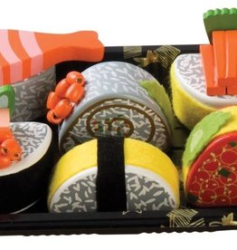 houten sushi set in tray
