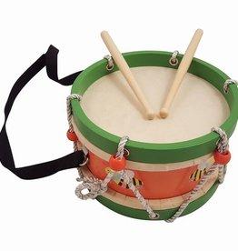 houten trommel groen/oranje bij