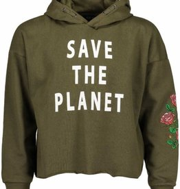 Blue Seven Teens armygreen sweater save the planet