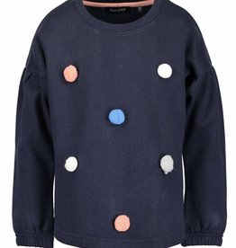 Blue Seven d.blauwe sweater pompombolletjes magical