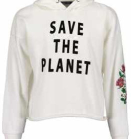Blue Seven Teens witte hoody save the planet