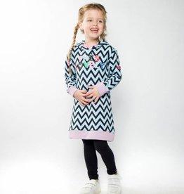 O'Chill jurk Nathalie baby blauw met donker blauwe zigzag print