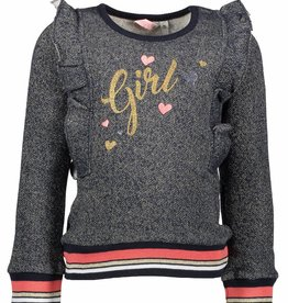 Bampidano jr. blauwe sweater met ruches girl