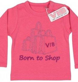 V.I.B. T-shirt Born to shop Roze 0-3 mnd