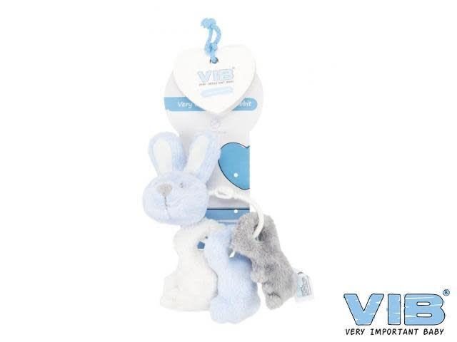 V.I.B. pluche sleutelbos konijn blauw