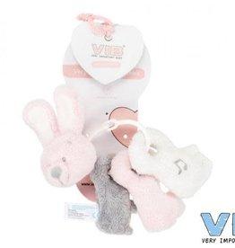 V.I.B. pluche sleutelbos konijn roze