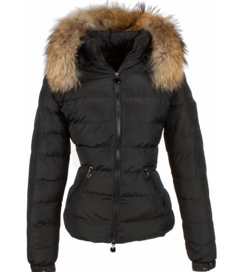 Adrexx Parkas mujer - Mujeres abrigo de invierno corto - Capucha pelo 2 cremallera - Negro