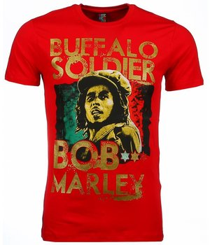 Mascherano Camisetas - Bob Marley Buffalo Soldier Print - Rojo