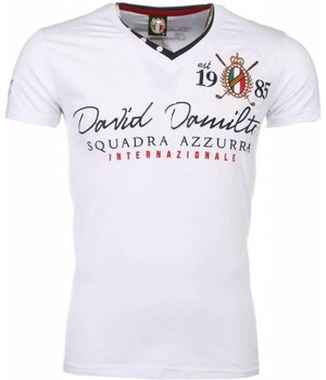 David Mello Camisetas - Squadra Azzura Bordado Camiseta italiano hombre - Blanco