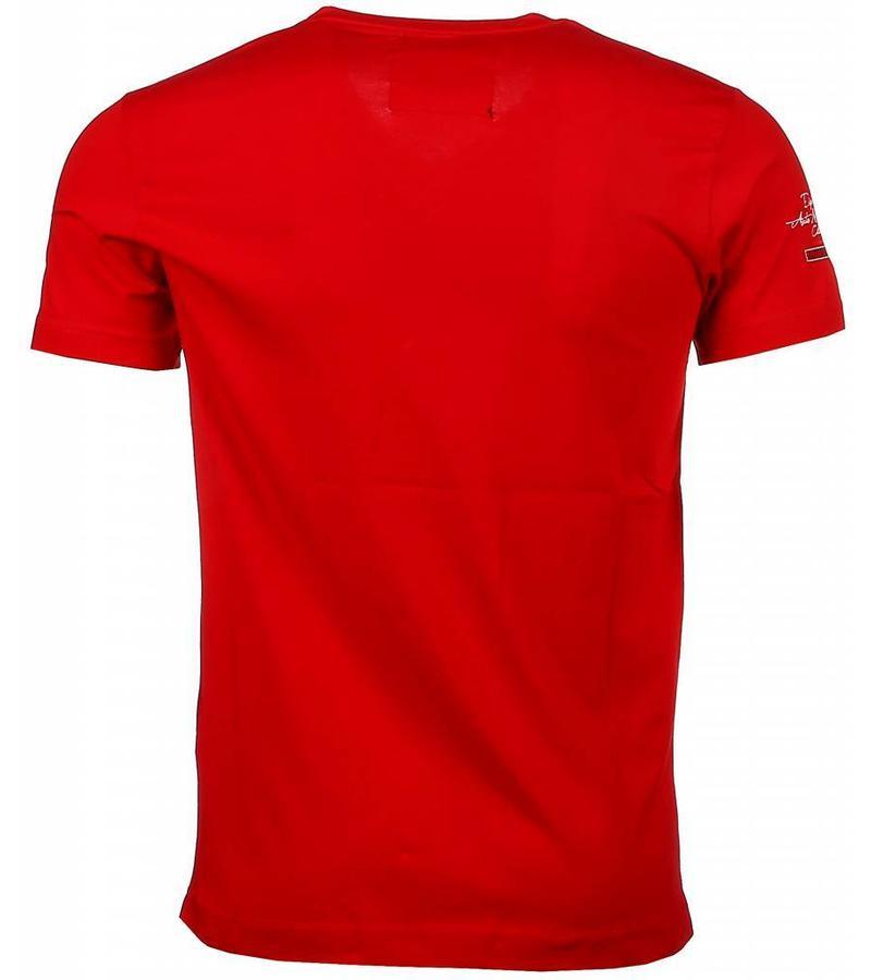 David Mello Camisetas - Club Automobile bordado Camiseta Italiano hombre - Rojo