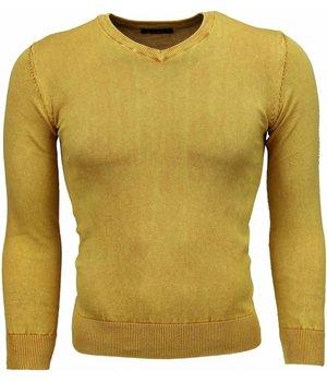 Brother-F Jersey - Exclusivo V-cuello básico Jersey hombre - Amarillo