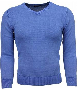 Brother-F Jersey - Exclusivo V-cuello básico Jersey hombre - Azul