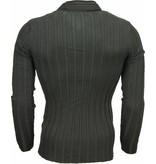 Belman Jersey - Cuello de chal, Diseño patrón de rayas Jersey hombe - Negro