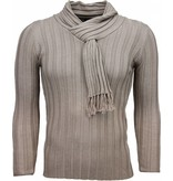 Belman Jersey - Cuello de chal, Diseño patrón de rayas Jersey hombe - Beige