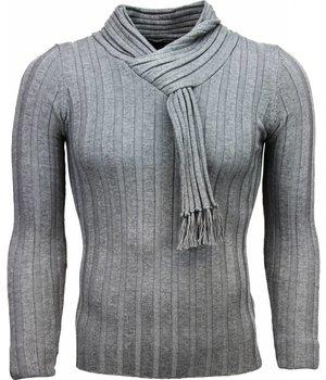 Belman Jersey - Cuello de chal, Diseño patrón de rayas Jersey hombe - Gris Oscuro