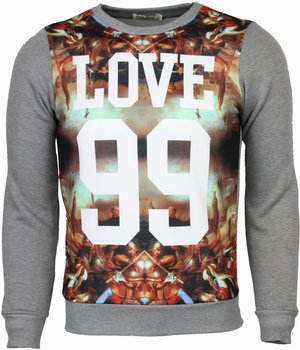 Enos Sweater - Mythologie Motief Love 99 Print Heren - Licht Grijs