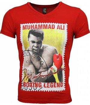 Mascherano Camisetas - Muhammad Ali Stamp Print - Rojo