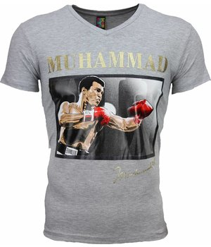 Mascherano Camisetas - Muhammad Ali Glossy Print - Gris